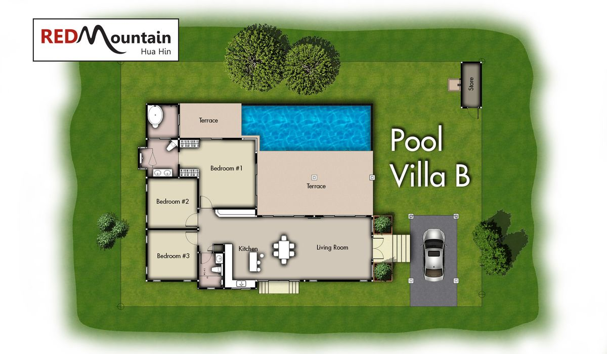 Thailand Hua Hin RED MOUNTAIN WOODLANDS Villa Haus Ferien pool Plan